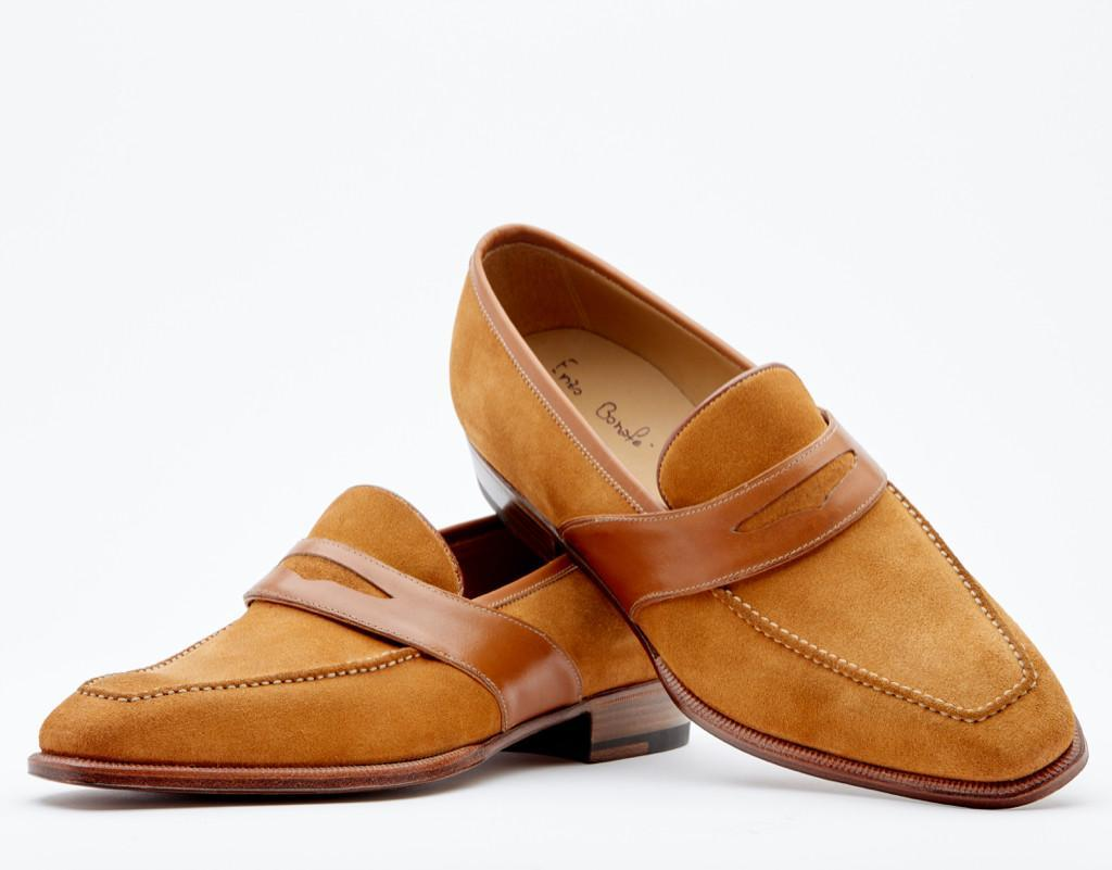 Loafer With Hand-stitched Apron And Long Strap And Piping In Contrast. Single Leather Sole. Blake 2-c Construction