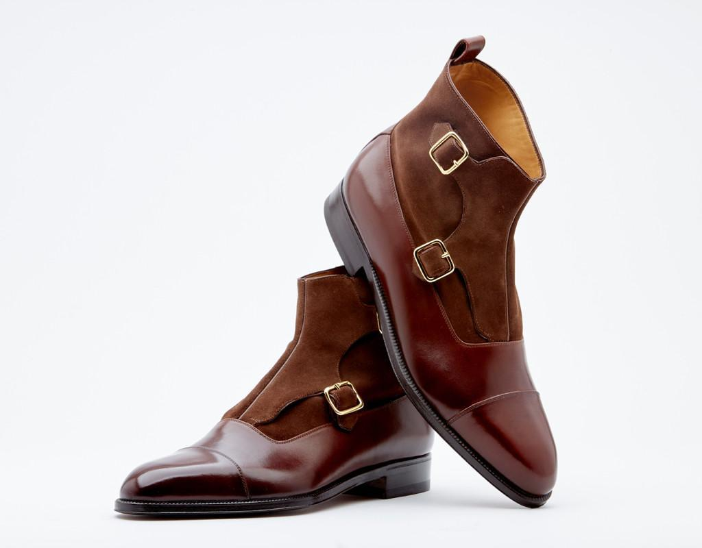 Double Monk Boot With Cap Toe. Single Leather Sole. Blake 3-a Construction