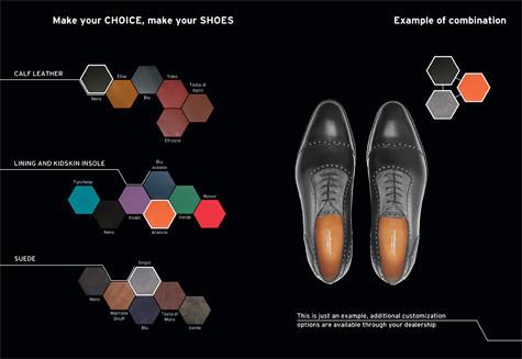Esempio di personalizzazione delle calzature Enzo Bonafè per il programma Lamborghini AdPersonam